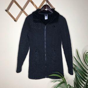 North Face Black Quilted Fleece Parka Jacket